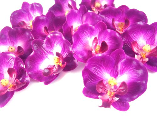 (100) Small Purple Phalaenopsis Orchid Silk Flower Heads - 2