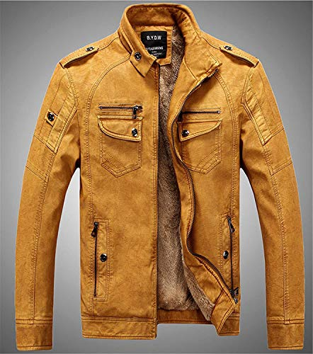 Gelb Motorista Cuero Estilo Leather Vintage Mens Plus De Chaqueta Winter Velvet De Warm PU Simple Collar Chaqueta Stand Zipper Loose NEN Coat Hombres RM OW5wqwgx8Z