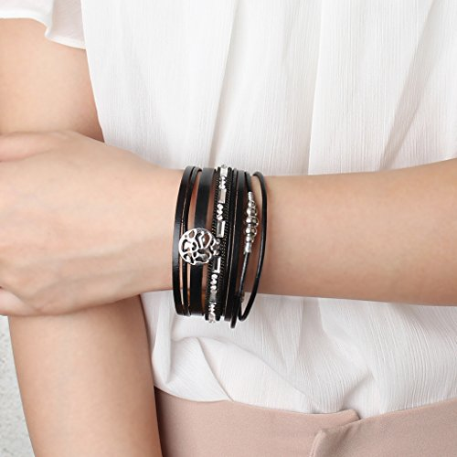 Jenia Black Geniune Leather Cuff Bracelet - Snowflake Alloy Beads and Crystal Bangle Handmade Jewelry for Ladies, Wife Gift - with Magnetic Buckle and Gift Box By by Jenia (Image #5)