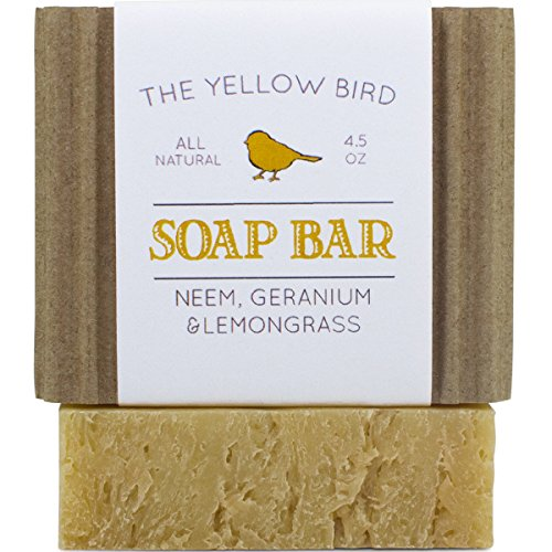 Neem Soap Bar. All Natural Face Wash & Acne Body Wash. 100% Natural & Organic. Artisan Neem Oil Soap with Therapeutic Lemongrass and Geranium Essential Oils