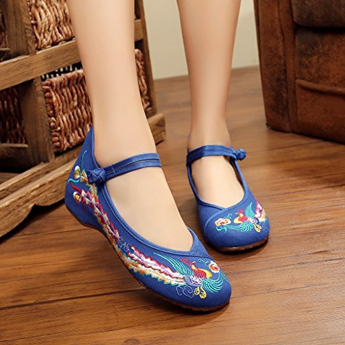 Eagsouni Women's Colorful Phoenix Old Beijing Embroidered Shoes Low Wedge Mary Jane Shoes Blue 5ETkCRM
