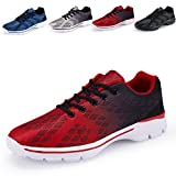 Men's Lightweight Breathable Running Tennis Sneakers Casual Walking Shoes (US 6.5/EU 39, Red)