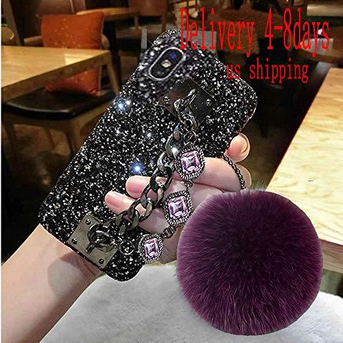 Babemall for iPhone X XS 5.8 inch Case, Pretty Bling Diamond Rhinestone Ball Pendant Gemstone Chain Hard PC Case (iPhone X XS, Purple)