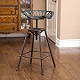 Great Deal Furniture Charlie Industrial Metal Design Tractor Seat Bar Stool (Black Brushed Copper)