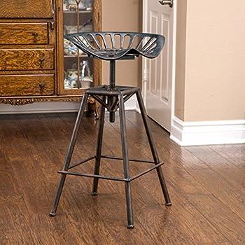 Great Deal Furniture Charlie Industrial Metal Design Tractor Seat Bar Stool  (Black Brushed Copper)