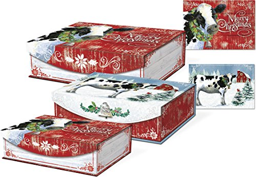 Punch Studio Large Nesting Boxes, Joy to The Farm, Set of 3 (43064N) ()