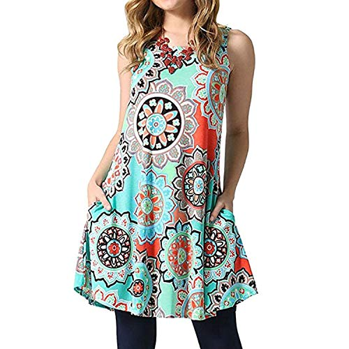 Ankola Dress, Women's Boho Printed Casual Sleeveless Swing Tunic T-Shirt Dress Short Mini Dress with Pockets (XL, Green) ()