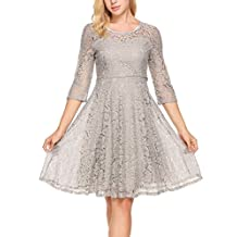 Meaneor Women 3/4 Sleeve Round Neck Floral Lace Swing Cocktail Party Mini Dress