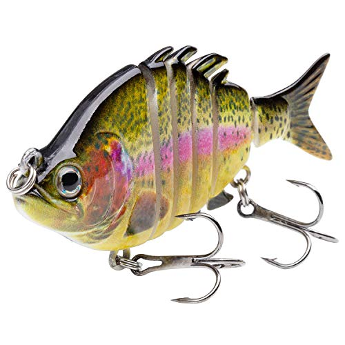 "Bassdash SwimPanfish 2019 New 2.5""/0.34oz Hard Bluegill Swimbaits Multi Jointed Topwater Trout Bass Fishing Crank Lure for Freshwater and Saltwater"