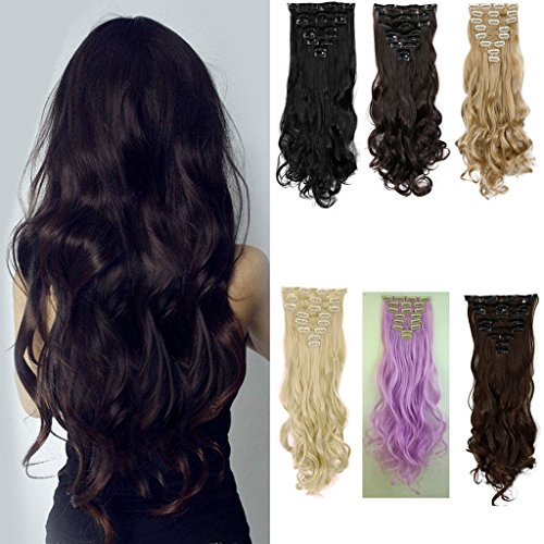 FUT 26inch 145g Straight Full Head 8 Piece 18 Clips in Synthetic Hair Extensions for Girl Lady Women Dark Brown