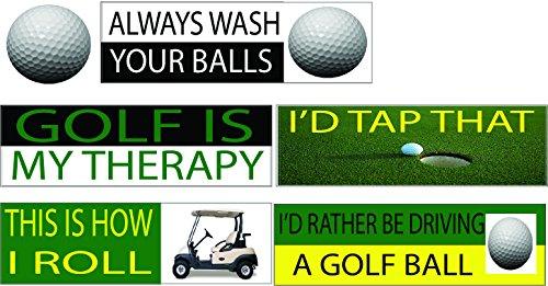 COMPLETE SET Funny Golf Ball Cart Auto Decal Bumper Sticker Car Truck Boat RV Window Men Him Husband Golfer (Complete (Complete Decal Set)