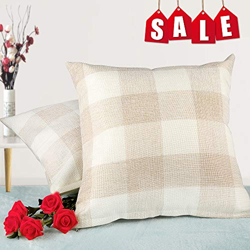 Buffalo Plaid Throw Pillow Covers- Christmas Home Decor Checkers Plaids Cotton Line Cushion Cover for Sofa,  Living Room Farmhouse Pillows Cases Set of 2(18 x 18 Inch/45 x 45 Cm)