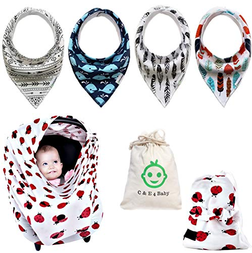 Price comparison product image Baby Bandana Drool Bibs with 3 Snaps and Nursing Cover,  Gift Set of 4 Bibs for Boys and Girls with 2 Carry Bags
