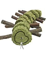 Bunny Chew Toys for Teeth, Natural Organic Apple Wood Sticks for Rabbits, Chinchilla, Guinea Pigs, Hamsters, Parrots and Other Small Animals Chewing/Playing, Improve Dental Health (Sticks and Cakes)