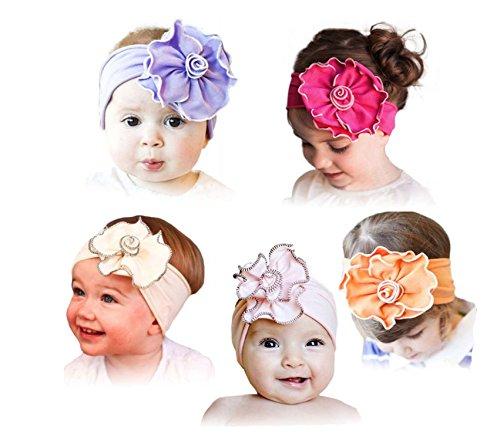 ZHW Baby Girl's Flower Headband Hairband Bow Big Flower 5 Pack