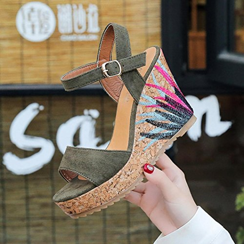 Lolittas Gladiator Women Sandals Wedge Platform,Gladiator Pretty High Heel Adjustable Lace up Go Walk Open Toe Wide Fit for Ladies Black Size 2-6 10cm Green