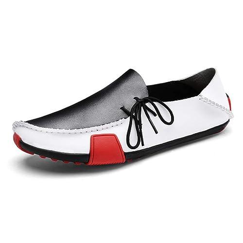 Mocasines con Cordones de Cuero para Hombre Mocasines Zapatillas de Deporte Mocasines de Penny Comfort Mocasines