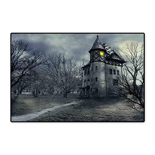 Halloween Door Mats for Home Halloween Design with Gothic Haunted House Dark Sky and Leafless Trees Spooky Theme Bath Mat for Bathroom Mat 16