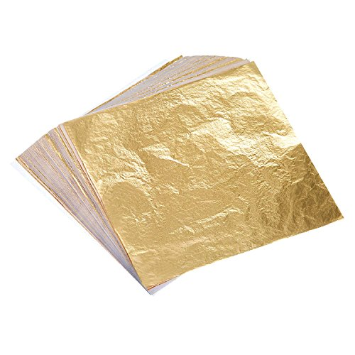 Bememo 100 Sheets Imitation Gold Leaf for Arts, Gilding Crafting, Decoration, 5.5 by 5.5 Inches (Leaves Of Gold)
