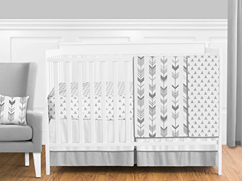 Grey and White Woodland Arrow Boy, Girl, Unisex Baby Crib Bedding Set Without Bumper by Sweet JoJo Designs – 4 Pieces