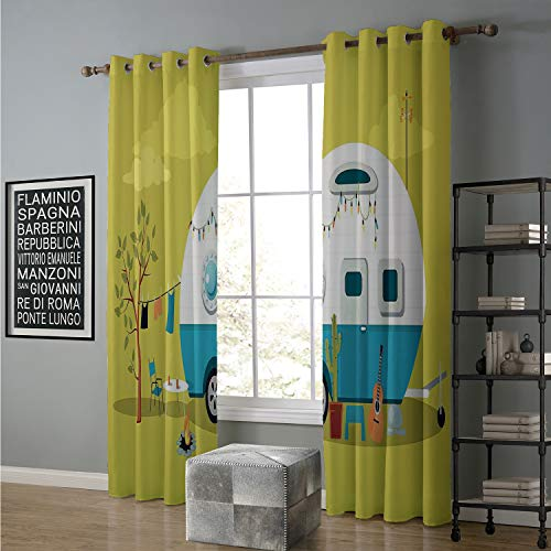 Jinguizi Blackout Curtain Room Darkening for Bedroom 108 by 108 Inch Camping,Parked Trailer Guitar Cactus Laundry and Fire Pit Road Trip,Yellow Green and Multicolor (Lord Of The Rings Fire Pit Ring)