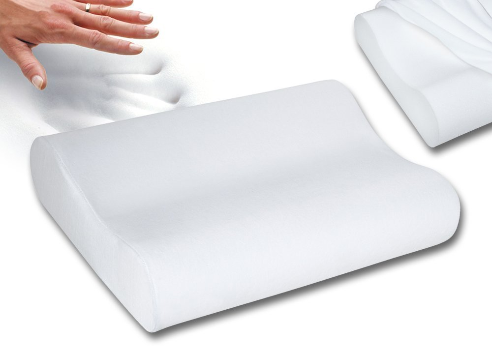 "Qualimate Contour Cervical Orthopedic Memory Foam Pillow Memory Pillow, Memory Pillows for Sleeping, Memory Pillow for Neck, Memory Pillow Cover - 19""x 11"" x 3.5"", White product image"