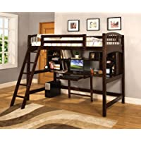 Furniture of America Ashby Twin Loft Bed with Workstation, Espresso