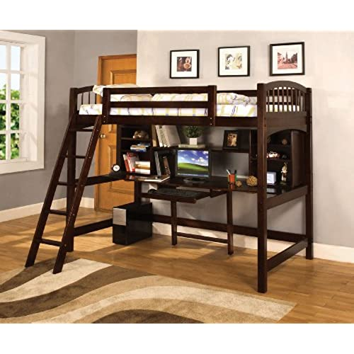 wood bunk bed with desk. Simple With Furniture Of America Ashby Twin Loft Bed With Workstation Espresso And Wood Bunk With Desk E