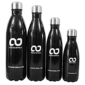 Alpha Armur 32 Oz (1L) Double Wall Vacuum Insulated Stainless Steel Water Bottle Flask Thermos Water Bottle with Narrow Mouth, Black
