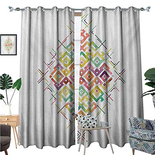 BlountDecor Groovy Thermal Insulating Blackout Curtain Watercolors Ethnic Tribal Pattern Zigzag Asian Roots International Heritage Motif Image Patterned Drape for Glass Door W108 x L84 Multi