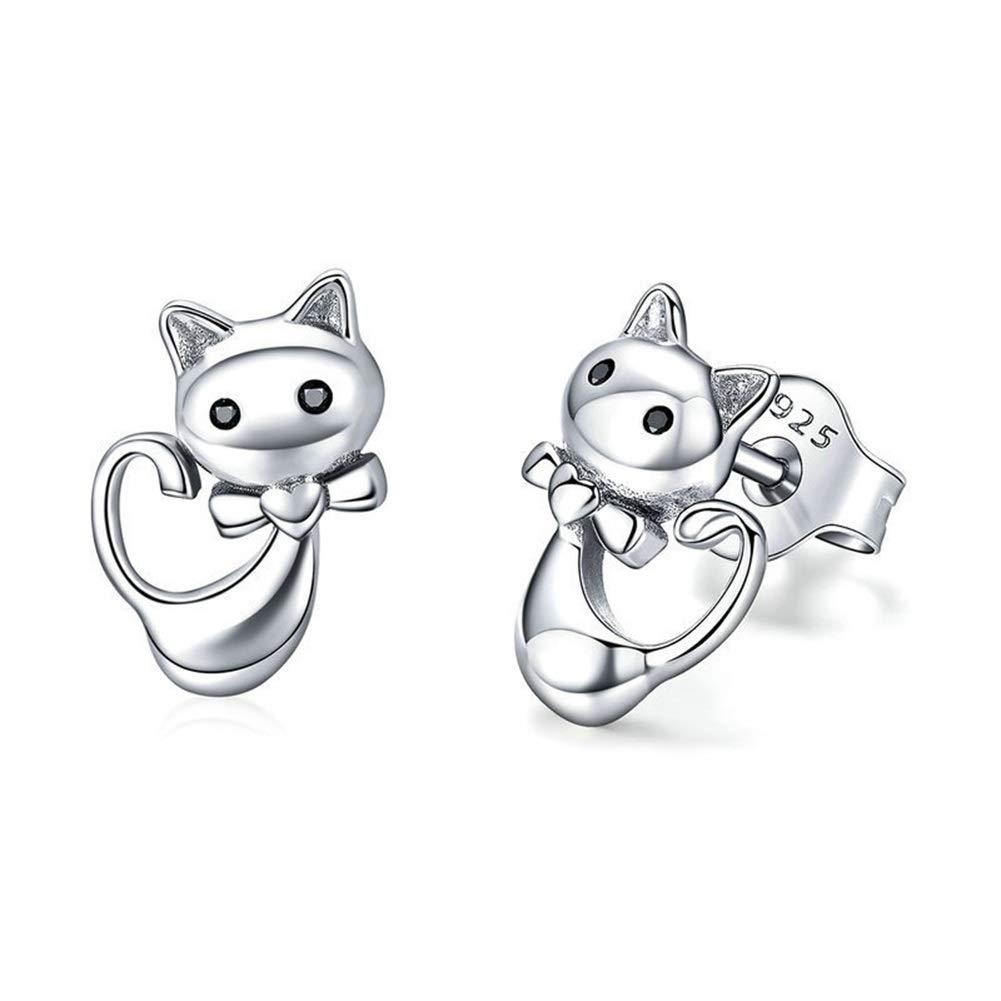 Jin Sheng 925 Sterling Silver CZ Heart-Shaped Show of Love with Diamond cat Charm Stud Post Earrings for Women Girls