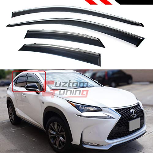 Fits for 2015-2019 Lexus NX200t NX300H F-Sport Clip-on Type Chrome Trim Window Visor Rain Guard Deflector