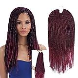 Ombre Senegalese Twist Hair Crochet Braids Hairstyles 2S Pretwist Box Braid Crochet Hair Extensions 18Inch 30Strands 75Gram/Pack (18inch 5pcs, ombre burgundy)