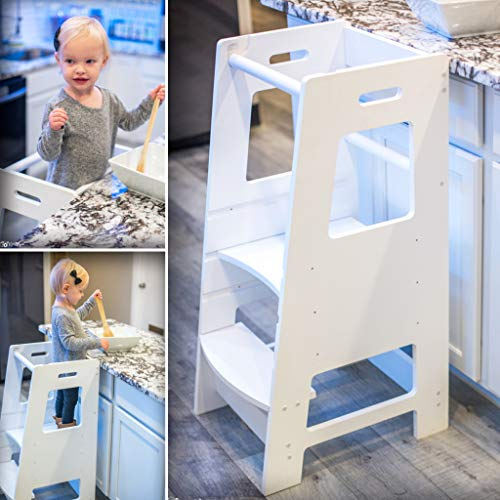 KidzWerks Child Standing Tower - White Child Kitchen Step Stool with Adjustable Standing Platform - Wooden Montessori Standing Tower - Kid's Step - Tower Little Learning Partners