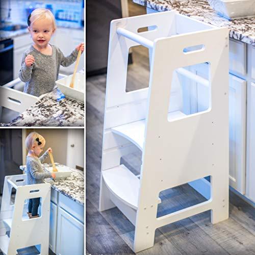 KidzWerks Child Standing Tower - White Child Kitchen Step Stool with Adjustable Standing Platform - Wooden Montessori Standing Tower - Kid's Step Stool ()