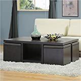 Coffee Table with Stools Underneath BOWERY HILL Table and Stool Set with Hidden Storage in Dark Brown