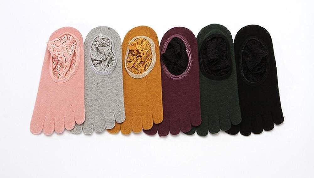 WDRSY Chaussettes Yoga Chaussettes De Yoga En Coton Bordées De Dentelle Chaussettes Antidérapantes Pour Femmes Mouvement De Danse (Sans Doigts) Tous les Doigts-curcuma