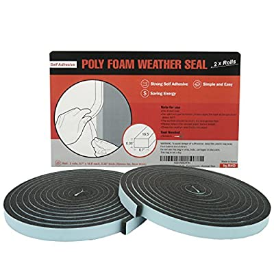 by.RHO 2x Rolls Poly Foam Self Adhesive Weatherseal Tape Maximum Compression, charcoal