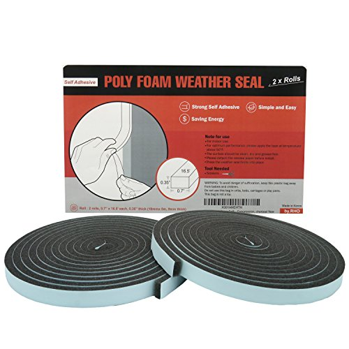 by.RHO 2X Rolls Poly Foam Self Adhesive Weatherseal Tape Maximum Compression, Charcoal Weather Stripping Tape ()