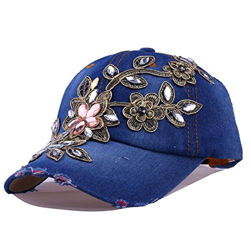 CRUOXIBB Ladies Flower Bling Rhinestone Baseball Cap Denim Jeans Blue Studded Cowboy Hat(01 Blue)