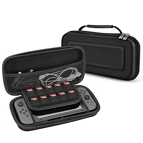 TNP Portable EVA Hard Shell Travel Case for Nintendo Switch, Traveler Carrying Pouch Deluxe Cover with Strap Handle, Fits Joy Con Controller, Game Cards & Accessories (Black) Review