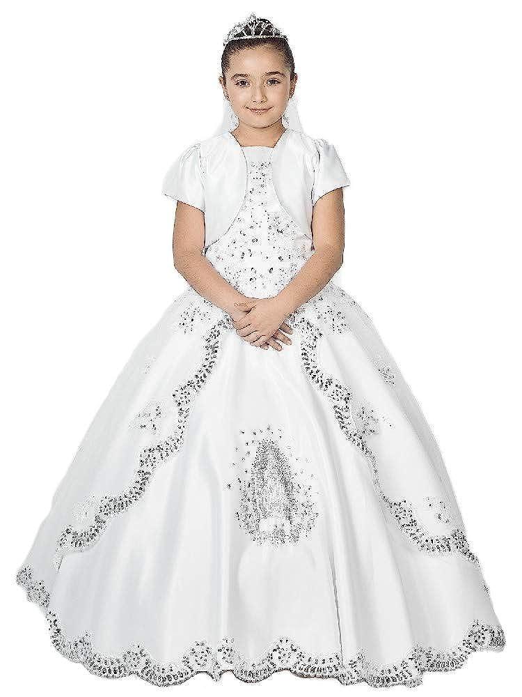 Alegria Kids Big Girls White Virgin Mary Embroidered Organza Bolero Communion Dress 20