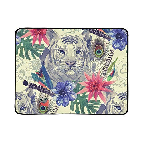 ZXWXNLA Vintage Indian Style Tiger Head Pattern with Feath Pattern Portable and Foldable Blanket Mat 60x78 Inch Handy Mat for Camping Picnic Beach Indoor Outdoor Travel