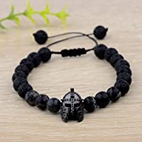 Meenanoom Men Charm Black Spartan Helmet Beaded Natural Stone Adjustable Macrame Bracelets