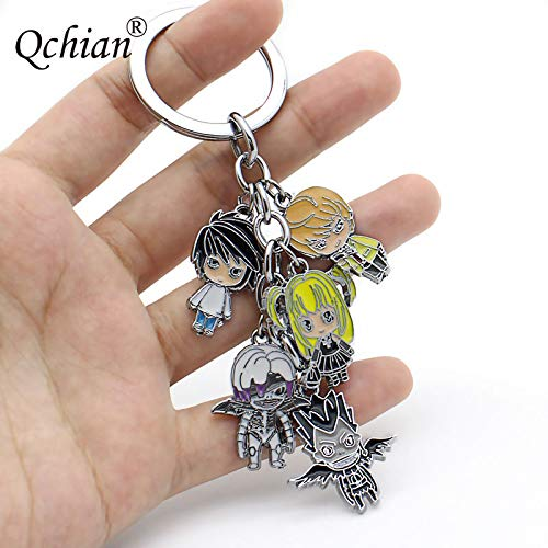 Momoso_Store death note keychain lovely l yagami light color alloy gift cartoon collection toys llavero chaveiro jewelry