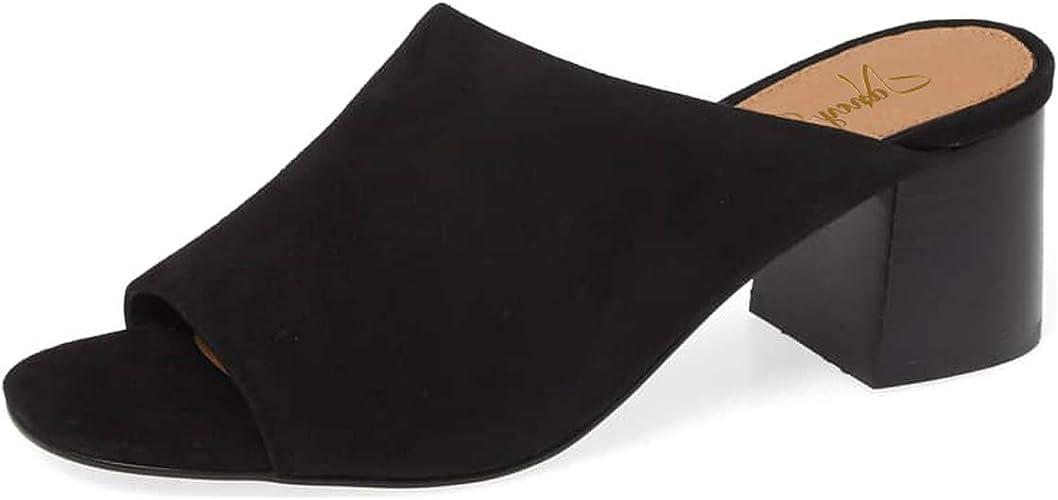 WOMENS HIGH BLOCK HEEL PEEP TOE SLIP ON MULES CLOGS SANDALS LADIES SHOES 3-8