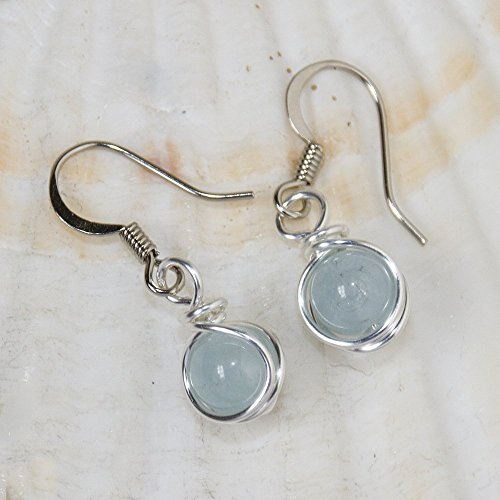 Aquamarine Earrings - March Birthstone Handmade Sea Blue Jewelry