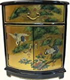 Oriental End Table Painted Cranes and Gold Leaf. Review