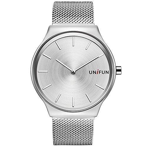 unifun Hombres Mujeres Fina malla de acero inoxidable Casual relojes de cuarzo de moda urbana