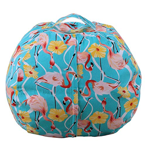 Evoio Bean Bag Stuffed Animal Storage Kid's Toys Organizer & Comfy Beanbag Chair Multipurpose Storage Bag 100% Cotton Premium Canvas (Flamingo Light Green, 26'') Cotton Comfy Bean Bag